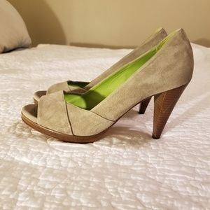 Boden Suede Peep Toe Shoes